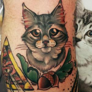 Tattoo style cat STR